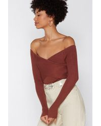 """Nasty Gal """"cross Me Out Off-the-shoulder Sweater"""""""