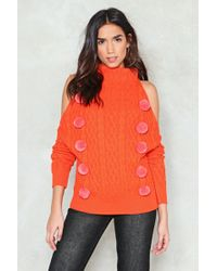 Nasty Gal - Having A Ball Cold Shoulder Sweater - Lyst