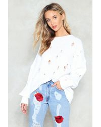 Nasty Gal - Prove Knit Distressed Sweater - Lyst