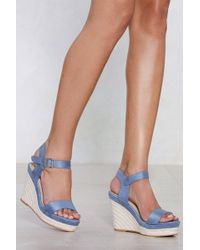 Nasty Gal - Keep 'em At Chambray Wedge - Lyst