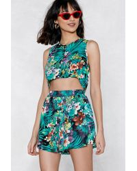 Nasty Gal - Like The Palm Of My Hand Crop Top And Shorts Set - Lyst