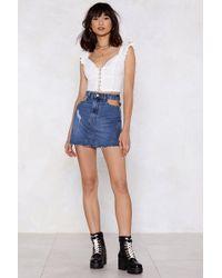 Nasty Gal - Pocket Down Distressed Denim Skirt - Lyst