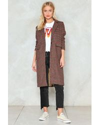 Nasty Gal - Checking Us Out Duster Coat - Lyst