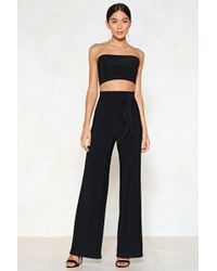 Nasty Gal - Tie Me Later Bandeau Top And Wide-leg Pants Set - Lyst