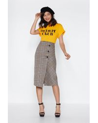 Nasty Gal - Keep Yourself In Check Midi Skirt - Lyst
