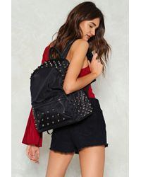 Nasty Gal - Want Studded Fabric Backpack - Lyst