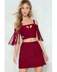 Nasty Gal - You're A Complete Babe Fringe Top And Skirt Set - Lyst