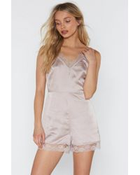 Nasty Gal - Sweet Dreams Are Made Of This Satin Lace Teddy - Lyst