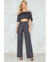 Nasty Gal - Bring The Disco Crop Top And Trousers Set - Lyst