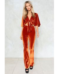 Nasty Gal - Sometimes When We Touch Velvet Top And Pants Set - Lyst