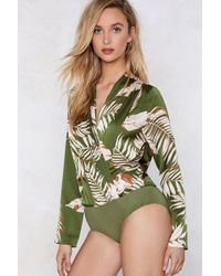 Nasty Gal - I Plant Quit Your Love Palm Bodysuit - Lyst