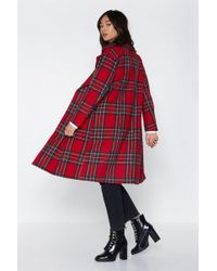 Nasty Gal - Tartan Check Wool Look Coat - Lyst