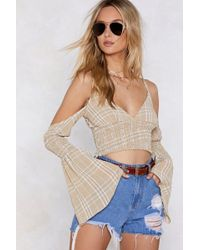Nasty Gal - A Short Check Crop Top - Lyst
