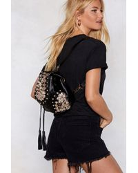 Nasty Gal - Want Button Another Level Embellished Backpack - Lyst