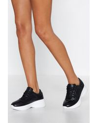 Nasty Gal - Running Out Of Time Faux Leather Trainer - Lyst