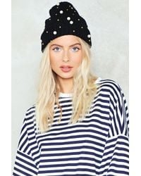 Nasty Gal | Large Pearl Studded Beanie Hat Large Pearl Studded Beanie Hat | Lyst