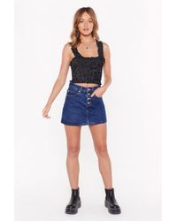 Nasty Gal Omg Look At Her Button-down Denim Skirt