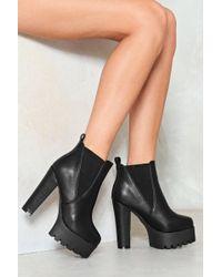 Nasty Gal - Pu Cleated Heel Platform Ankle Boot Pu Cleated Heel Platform Ankle Boot - Lyst