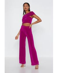 Nasty Gal - Here For You One Shoulder Top And Trousers Set - Lyst