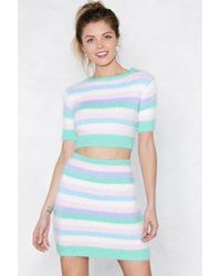 Nasty Gal | Fluffy Knit Striped Co Ord | Lyst
