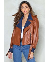 Nasty Gal - Denim & Vegan Leather Moto Jacket Denim & Vegan Leather Moto Jacket - Lyst