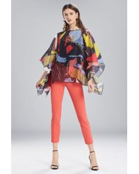 Natori - Josie Printed Gauze Caftan Top With Embroidery - Lyst