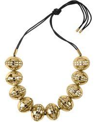 Natori - Josie Gold Brass Cage Round Necklace - Lyst