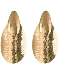 Natori - Hammered Gold Oval Earrings - Lyst