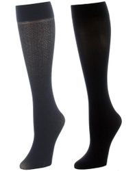 Natori - Floral Medallion/solid 2 Pair Trouser Socks - Lyst