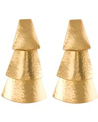 Natori - Hammered Gold Triangle Earrings - Lyst