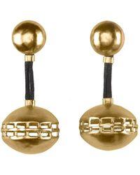 Natori - Josie Gold Brass Cage Round Earrings - Lyst