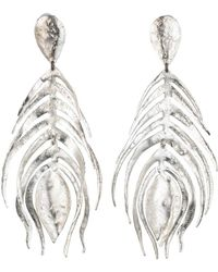 Natori - Josie Silver Plated Brass Peacock Feather Earrings - Lyst