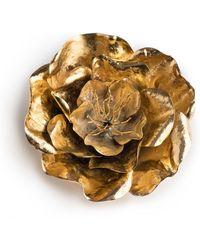 Natori - Josie Gold Brass Large Peony Brooch - Lyst