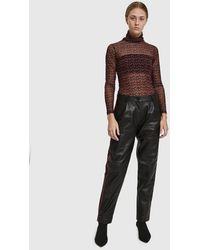 Just Female - Shape Contrast Leather Trouser - Lyst