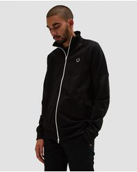 Fred Perry - Reverse Tricot Track Jacket In Black - Lyst