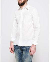 9b30923428 Orslow No Collar Denim Shirt in Blue for Men - Lyst