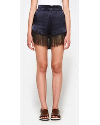 Ganni | Donnelly Satin Shorts In Total Eclipse | Lyst