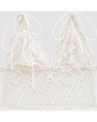 The Great Eros - Sonata Tie Longline Bralette In Pearl - Lyst