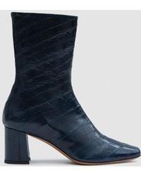 Trademark - Mira Eel Skin Boot In Navy - Lyst