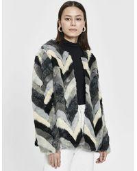 Stelen - Gertrude Chevron Faux Fur Coat - Lyst