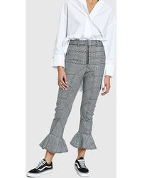 Self-Portrait - Frilled Check Trousers - Lyst