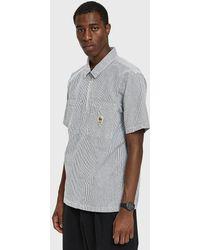 Stussy - Half Zip Seersucker Shirt In Black Stripe - Lyst