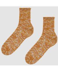Anonymous Ism - Slub Quarter Sock In Gold - Lyst