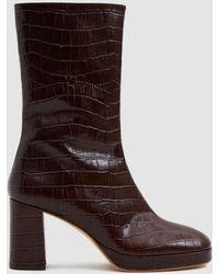 Miista - Carlota Croc Mid-calf Boot - Lyst