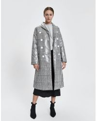 House Of Sunny - Long Tailored Houndstooth Trench - Lyst