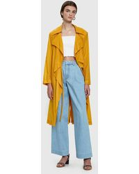 AALTO - Trench Coat With Sweatshirt Hood In Yellow - Lyst