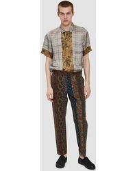 Dries Van Noten - Mixed Print Trouser In Navy - Lyst