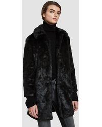 FRAME - Faux Fur Coat In Noir - Lyst