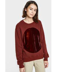 Correll Correll - Duo Velvet Circle Sweatshirt In Rust - Lyst