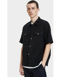 Our Legacy - Chamois Short Sleeve Shirt In Black Cotton/linen - Lyst